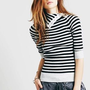 Free People   Striped Turtleneck Ribbed Sweater